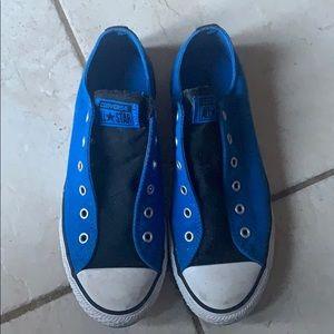 Blue Laceless Converse Shoes